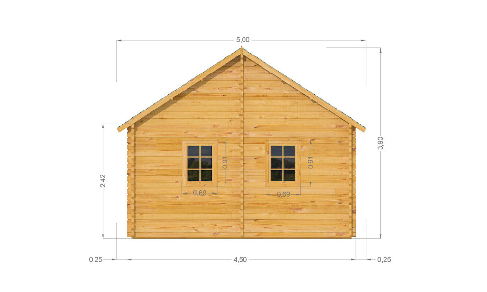Torino Log Cabin Rear Elevation