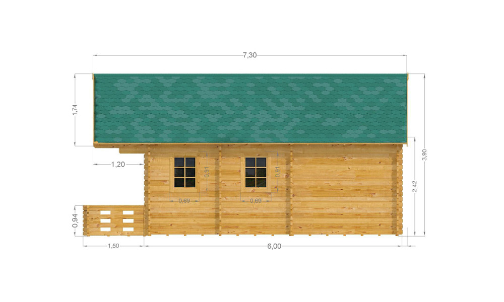 Torino Log Cabin Right Elevation