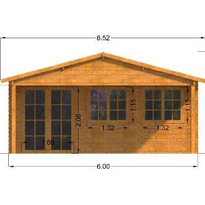Oxford Log Cabin Front Elevation