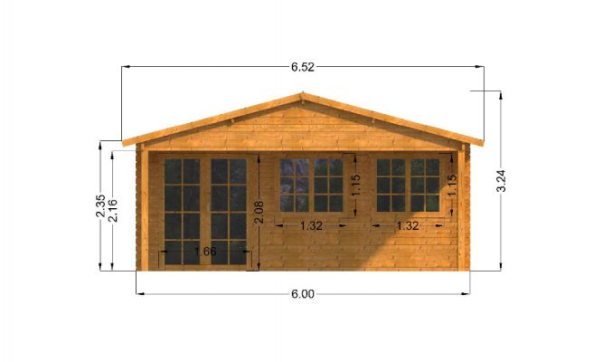 Oxford Log Cabin Front Elevation