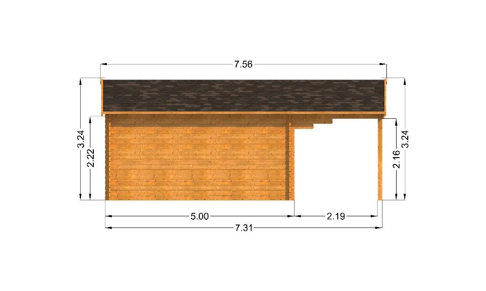 Oxford Log Cabin Left Elevation