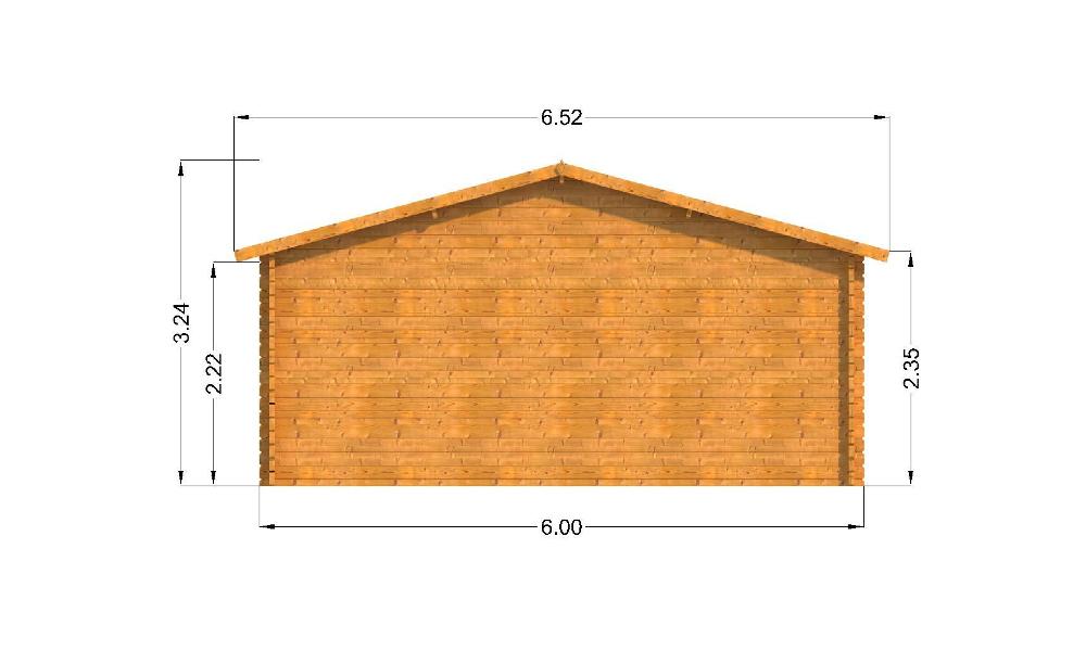 Oxford Log Cabin Rear Elevation