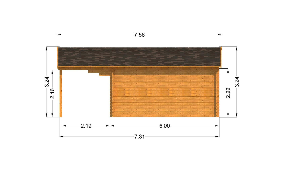 Oxford Log Cabin Right Elevation