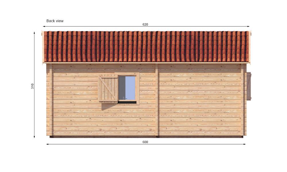 Veronica Log Cabin Rear Elevation