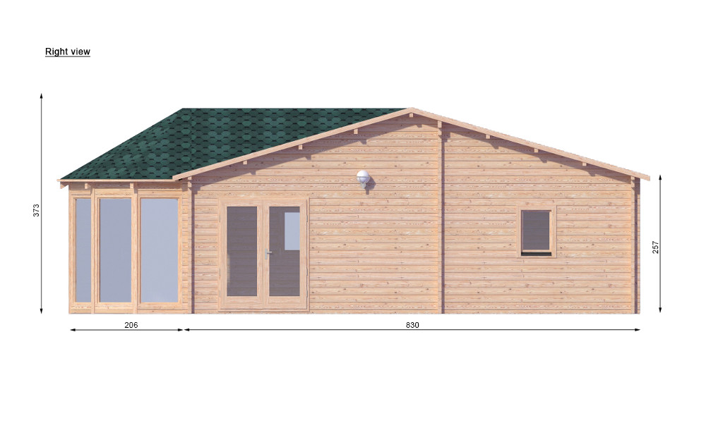 Vienna Log Cabin Right Elevation