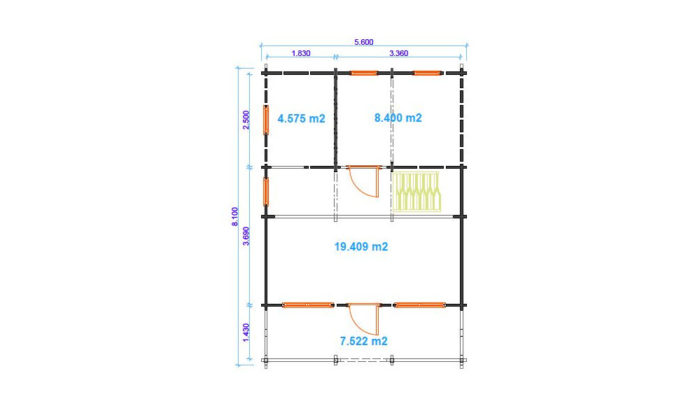 Max Log Cabin Floor Plan showing ground floor layout