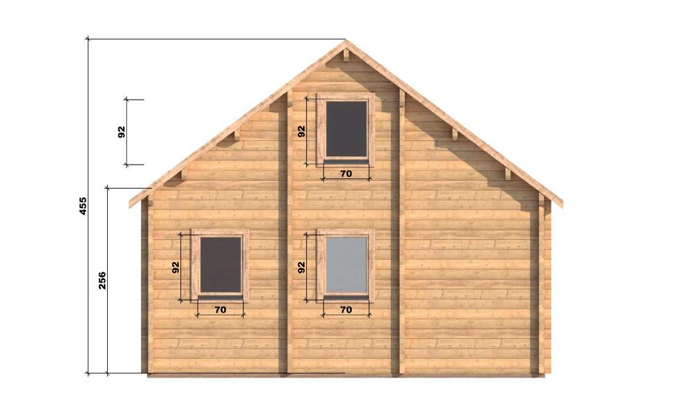 Max Log Cabin Rear Elevation