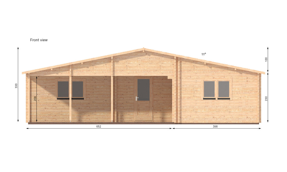 Jennifer Log Cabin Front Elevation