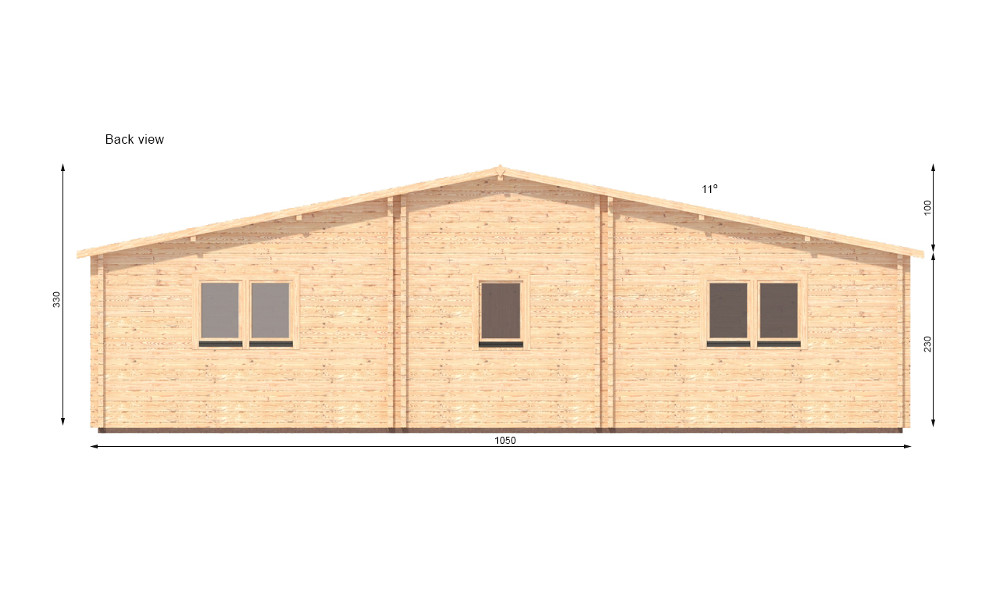 Jennifer Log Cabin Rear Elevation