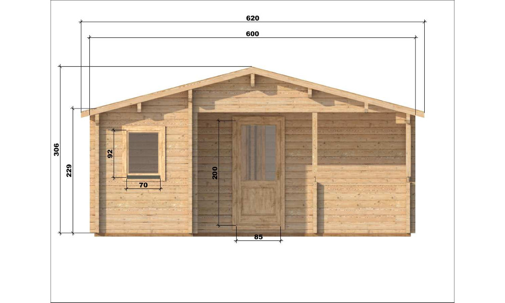 Almeria Log Cabin Front Elevation