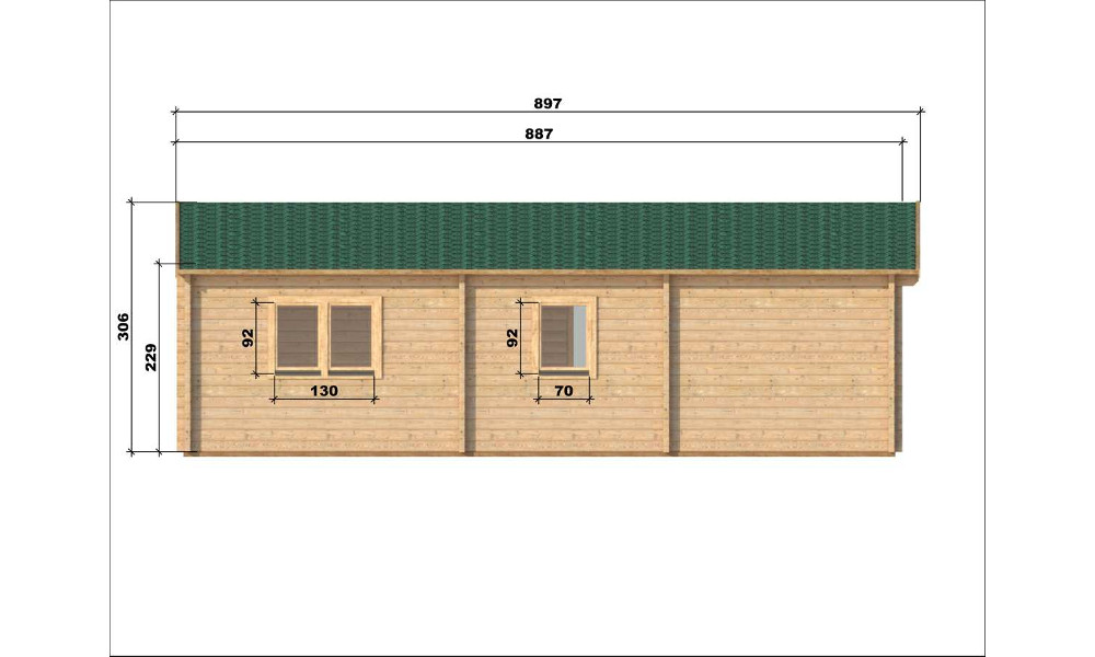Almeria Log Cabin Left Elevation