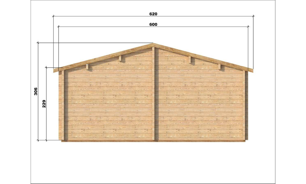 Almeria Log Cabin Rear Elevation