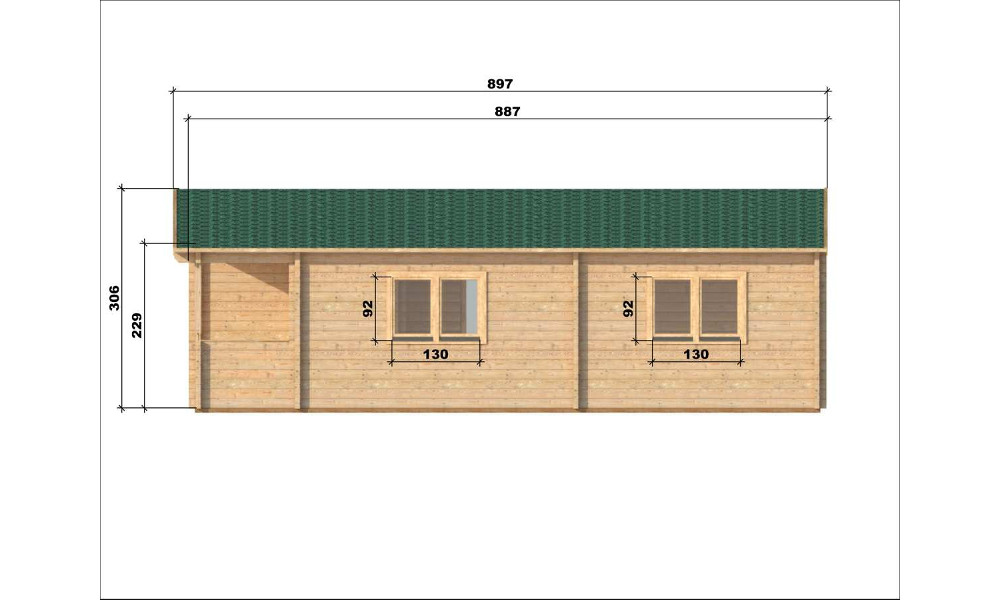 Almeria Log Cabin Right Elevation