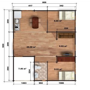 Riga Log Cabin Floor Plan