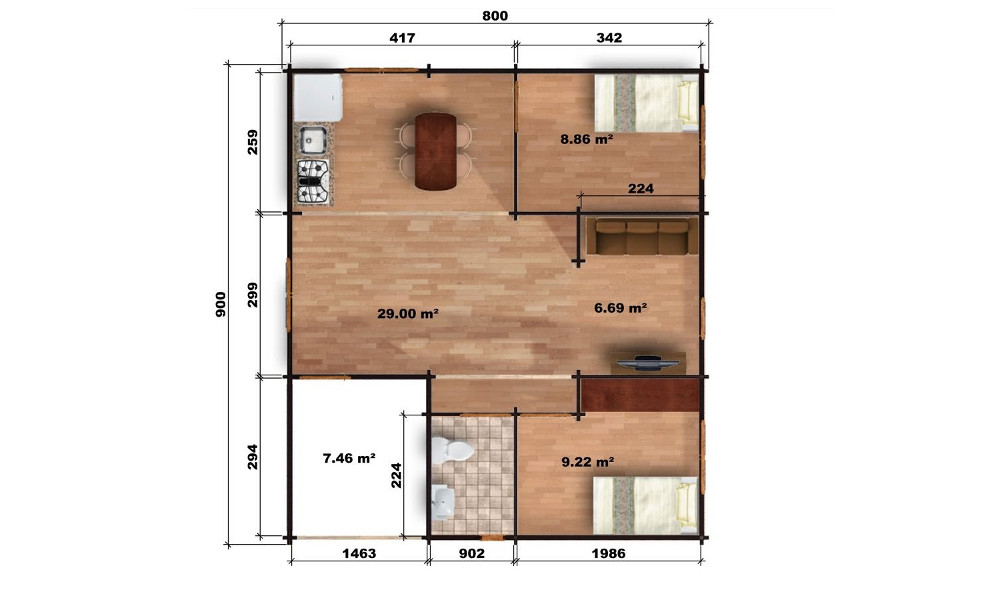Riga Log Cabin Floor Plan