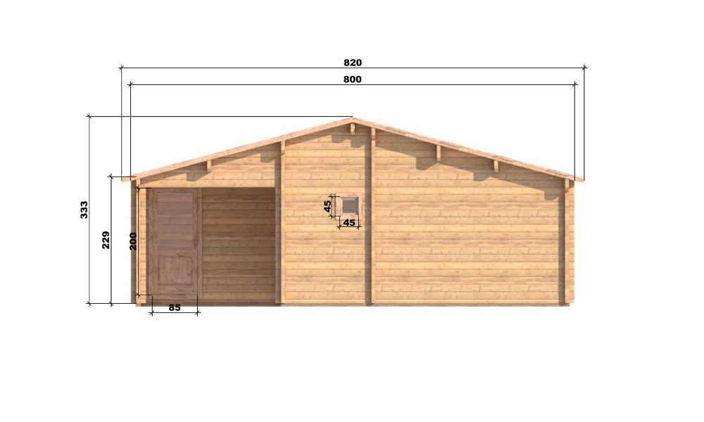 Riga Log Cabin Front Elevation