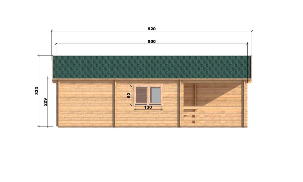 Riga Log Cabin Left Elevation