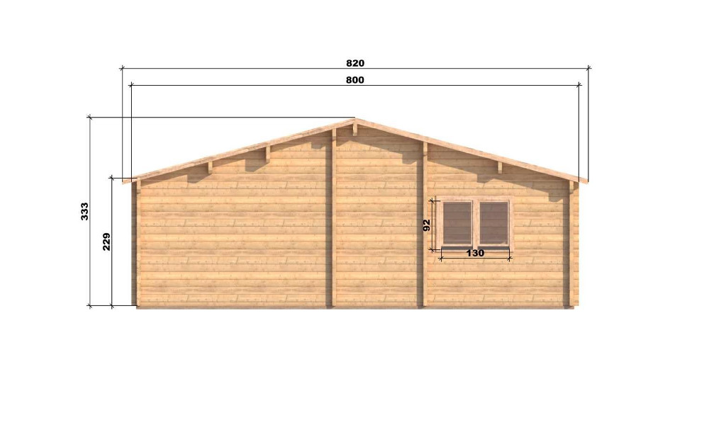 Riga Log Cabin Rear Elevation