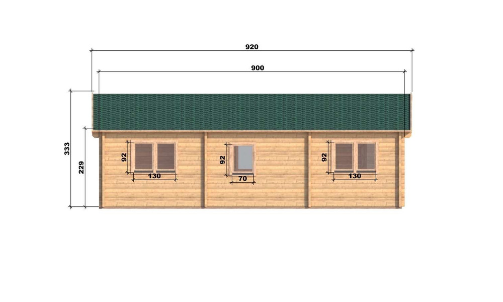 Riga Log Cabin Right Elevation