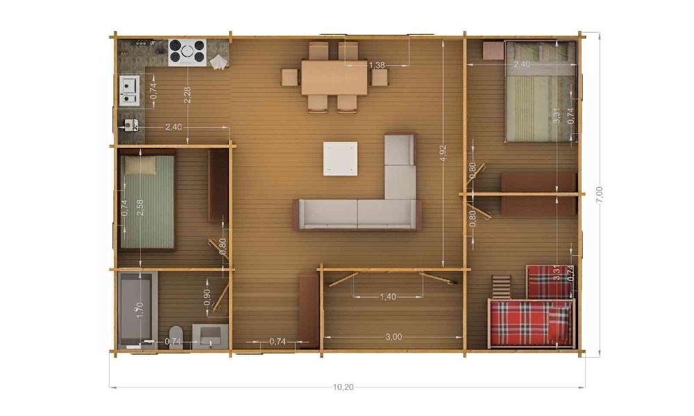 Scarlett Log Cabin Floor Plan