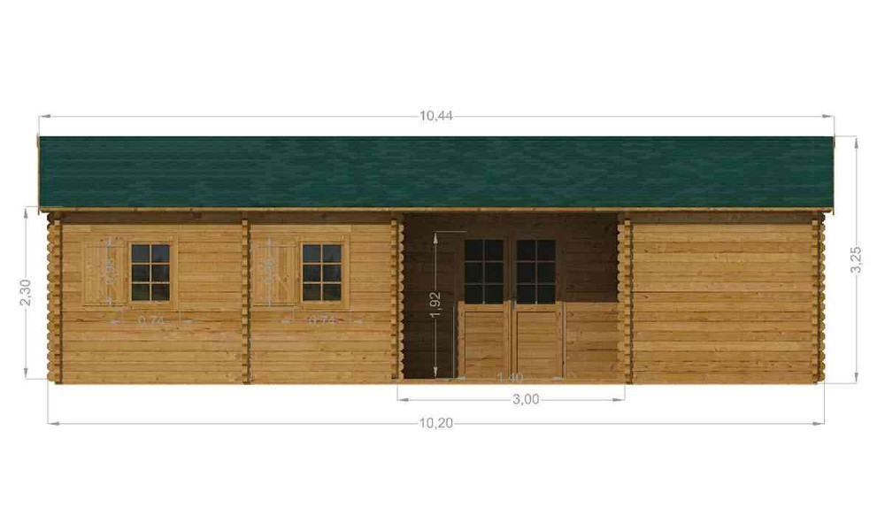 Scarlett Log Cabin Front Elevation