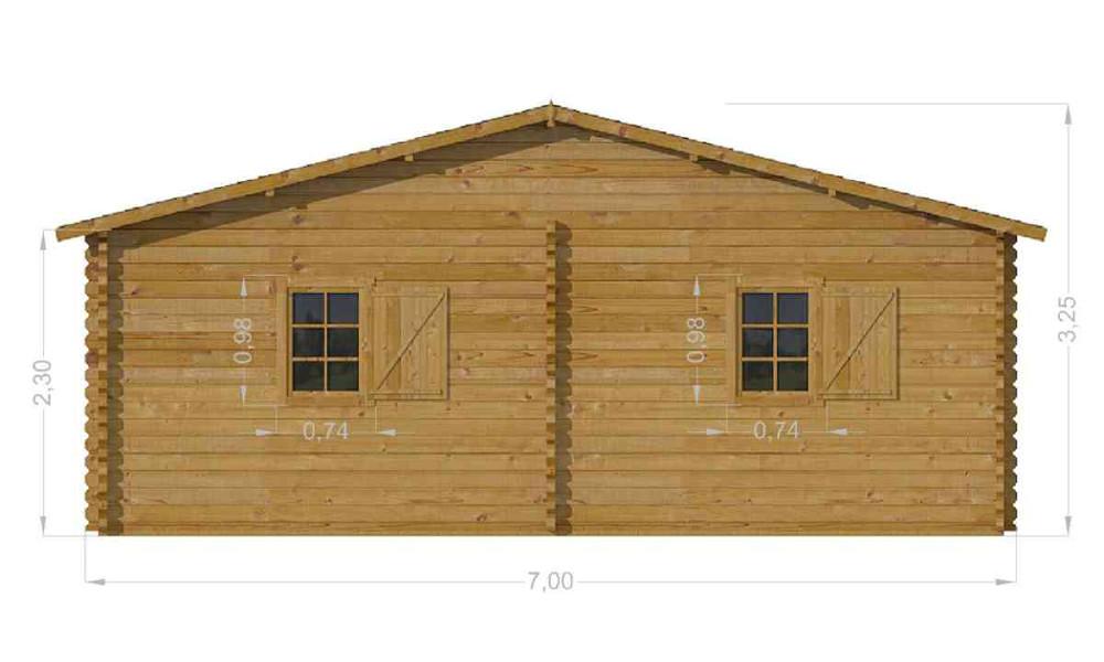 Scarlett Log Cabin Side Elevation