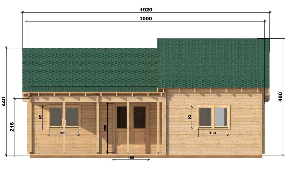 Wendy Log Cabin Front Elevation