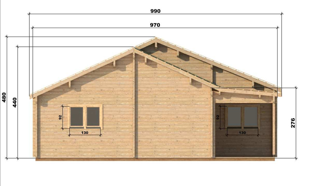 Wendy Log Cabin Left Elevation