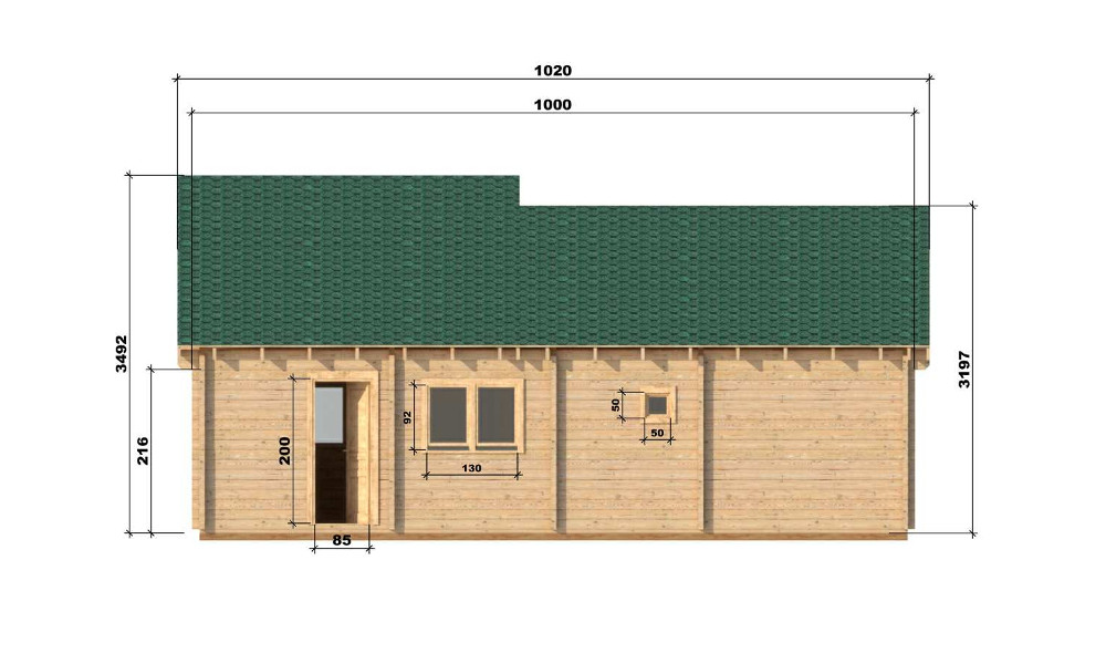 Wendy Log Cabin Rear Elevation